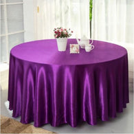 10pcs Plum 120 Inch Round Satin Tablecloths  Table Cover for Wedding Party Restaurant Banquet Decorations
