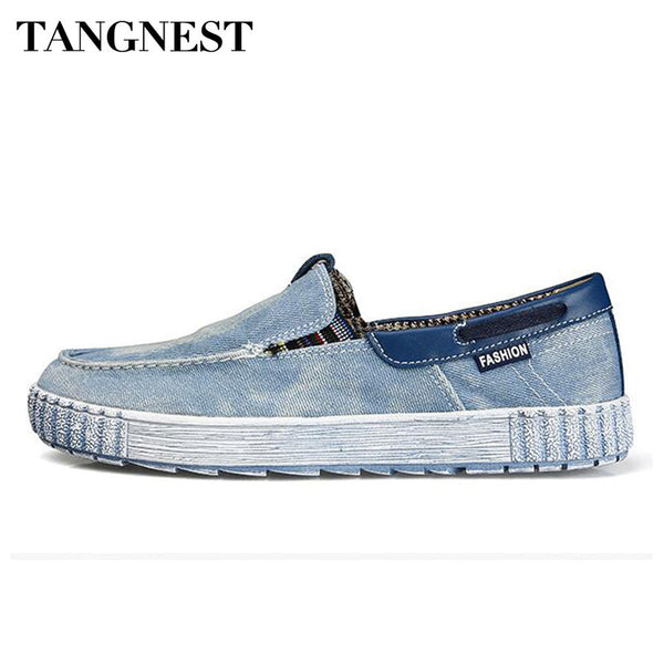 Tangnest Vintage Washed Denim Casual Shoes Men Shallow Slip-on Canvas Shoes Comfortable Cloth Loafers Man Driving Shoes XMR2641