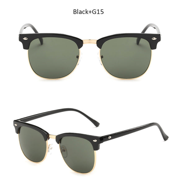 Vintage Brand Designer Sunglasses Men Women Half Frame Mirror Sun Glasses Fashion Retro Female