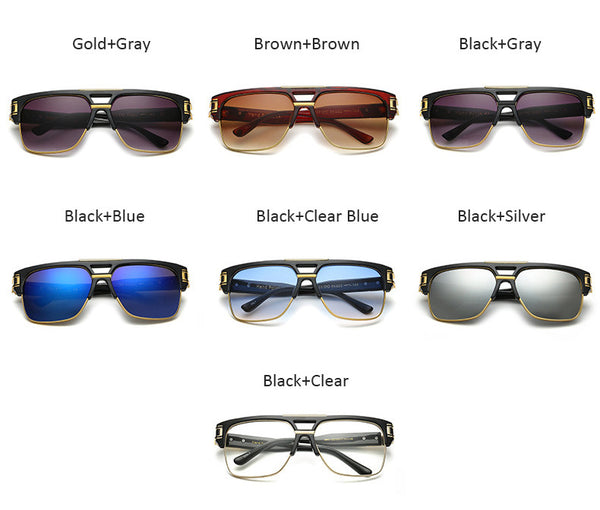 Vintage Men Sunglasses Luxury Brand Designer Male Flat Top Big Square Frame Mirror Sun Glasses Women Fashion Retro Clear Eyewear