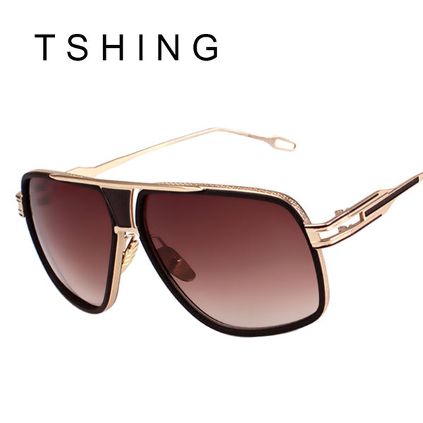 TSHING New Fashion Men Big Square Sunglasses Man Luxury Brand Designer Oversized Metal Women Sun Glasses For Male Driving UV400
