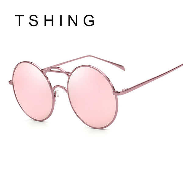 TSHING Mens Steampunk Round Sunglasses Women Circle Vintage Punk Style Coating Mirrored Sun Glasses For Male Female Oculos