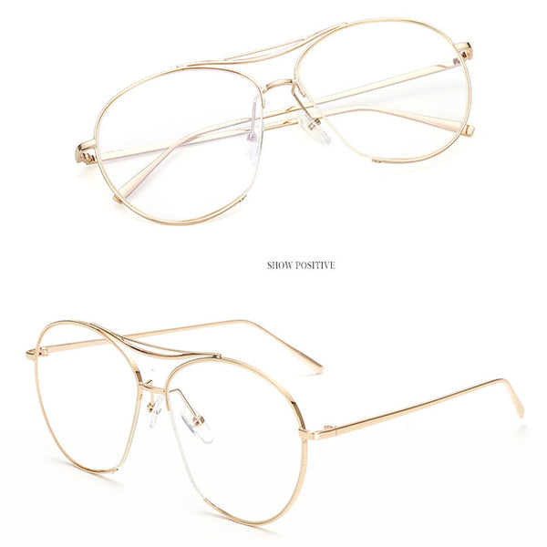 Women Bang Fashion Glasses Frame Twin Beam Metal Eyeglasses Men Vogue Myopia Eyewear Optical Glasses