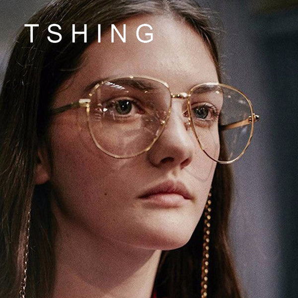 TSHING Unisex Big Frame Glasses Men Women Vintage Oversized Aviation Myopia Large Optical Glasses Superstar Eyewear Female M