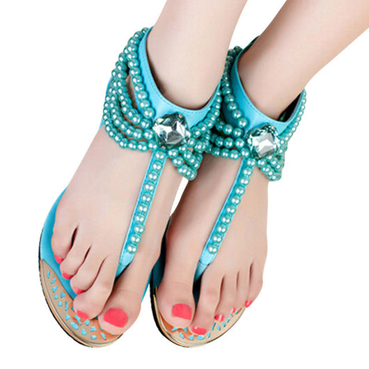 HEE GRAND Bling Beading Sandals T-Strap Flip Flops Summer Style Flats Shoes Woman Rhinestone Pearl Casual Women Shoes XWZ2015