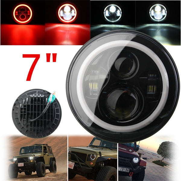 7 Inch 45/60W Hi-Lo Beam LED Headlight Head Light Lamps H4 - H13 Red Blue Full Halo Angel Eyes For Jeep/Wrangler JK TJ LJ 97-15