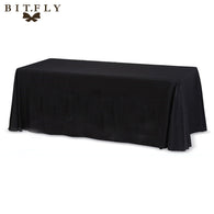 5 pieces 90x132 inch Rectangular Satin Tablecloth White/Black Table Cover for Wedding Party Restaurant Banquet Decorations-L1