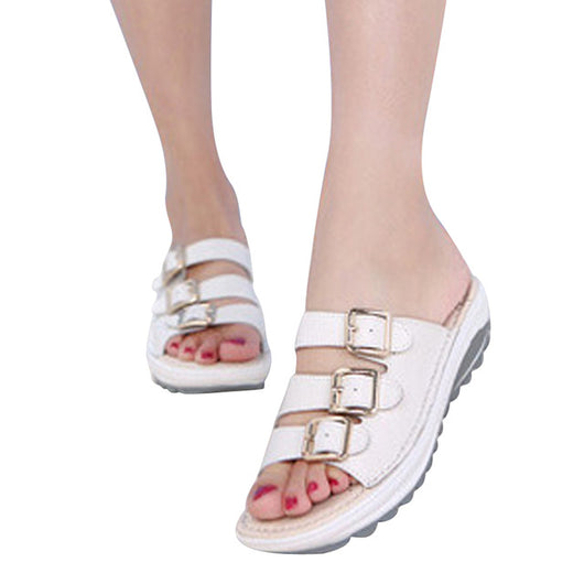 HEE GRAND 2017 New Slippers Summer Split Leather Shoes Woman Buckle Platform Wedges Casual Style Creepers Slides XWZ2759