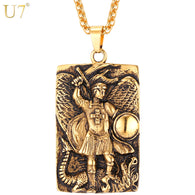 U7  Stainless Steel Big Square Michael Archangel Pendant Necklace Christian Religious Jewelry For Men Gift P1088