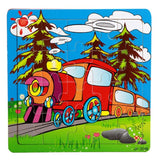 New Happy Cartoon Traffic Tools Wooden Puzzle Toys For Children Kids Intelligence Educational Toy Toys Wood Puzzles