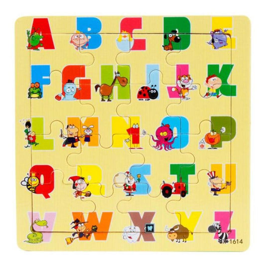 Preschool Toy English Educational Toy Alphabet A - Z Foam Mat for Children each Letter with one Animal Puzzle Wooden Puzzle