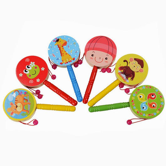 Wooden Rattle Pellet Drum Cartoon Musical Instrument Toy for Child Kids Gift Rattle-Drums Kids Toy
