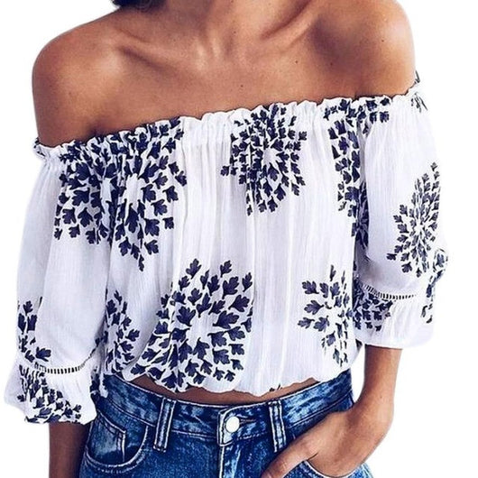 Autumn Summer Women Blouse Three Quarter Butterfly Sleeve Print Off Should Strapless Casual Tops White Blouse Blusas
