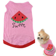 2015 New Summer cheap pet clothes dogs  For Cute Small Pet Dog Puppy With Watermelon Printed Pink Vest