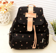 Women Backpack Bags Girl Canvas Pastoral Floral Flower Leisure Backpack School Bag Fashion Girls Travel Bag mochilas coleg