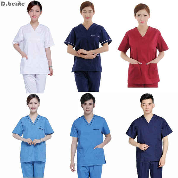 Men Women Medical Clothes Set Nursing Clinic Tops & Pants Short Sleeve Surgical Scrubs Tops & Trousers Hospital Uniform DAJ9166