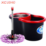 Household Spin Magic Mop Bucket Stainless Steel Hand Press Mop Bucket with Rotate Mop Head Housekeeper Cleaning Tools