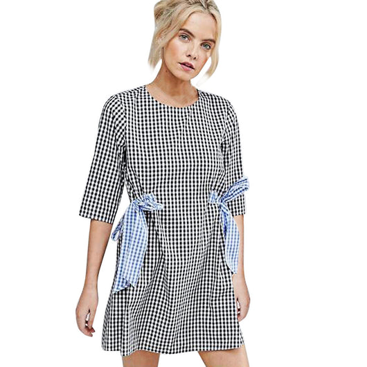 Fashion New Arrival Autumn Dress Women Sexy Half Sleeve Plaid O Neck Black Party Desses Loose Mini Dress vestidos