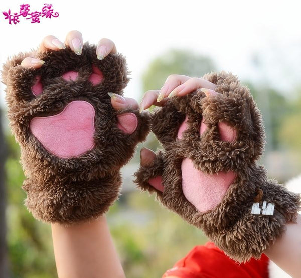 Lovely fingerless gloves Thickening fluffy bear's-paw gloves lovers gifts