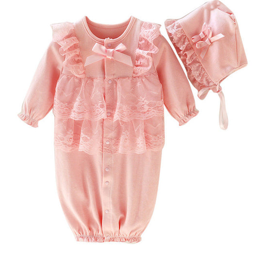 c89330091a4 Newborn Infant Baby clothes Kids Girls romper Cap Hat+Lace Romper Jump