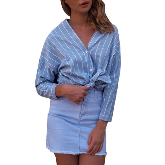 Sexy Blue Stripe Long Sleeve Autumn Blouses Shirts Women V Neck Plaid Shirt Cotton Woven Casual  Street Style Blusas Tops