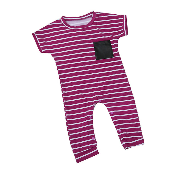 3f4cab908e19 Summer 2017 Newborn Infant Kids Baby Boy Girl Striped Cotton Romper  Jumpsuit Clothes Outfits
