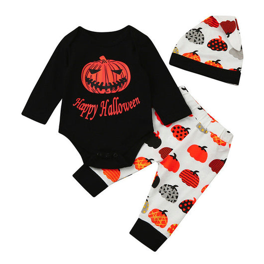 c2bdc1cc8ca New Baby Boys Girls Halloween Pumpkin Romper Jumpsuit+Pants 3Pcs Set C