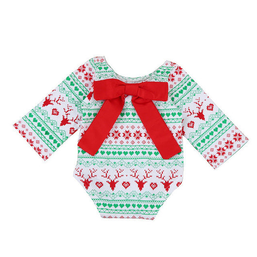 34bab772292 Newborn Kids Baby Girls Christmas Outfit Clothes Bow Long Sleeve Rompe