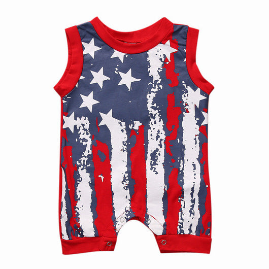 3abd77496519 Newborn Baby Girl Romper Clothes Infant Bebes American Flag Rompers wi