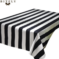 Geometric Wave Black and White Striped Table Cloth Square Rectangular Tablecloth Table runner Home Restaurant Decoration