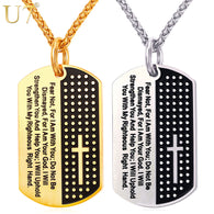 U7 Dog Tag Cross Necklaces & Pendant Gold Color Stainless Steel Chain Bible Verse Christian Jewelry Christmas Gift For Men P1009