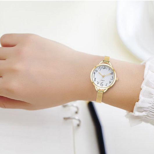 Fashion Women Casual Crystal Stainless Steel Analog Pointer Quartz Wrist Watch