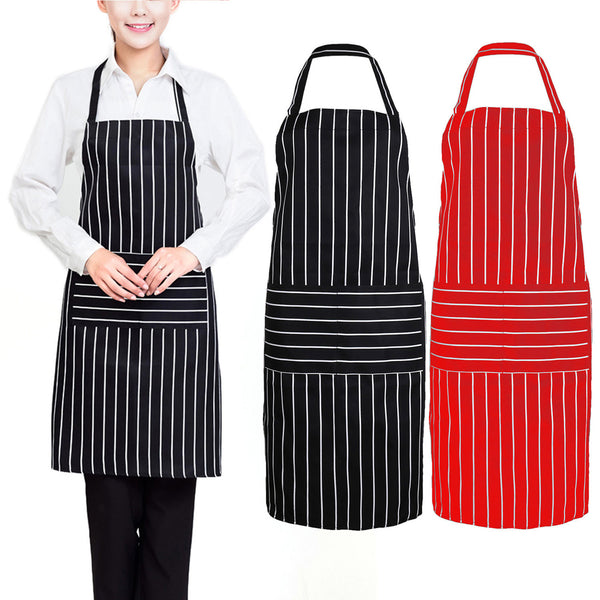 Stripe Kitchen Apron for Women Men Useful Cooking Apron Grid Adjustable Chef Cloth Household Cleaning Tools  Accessories