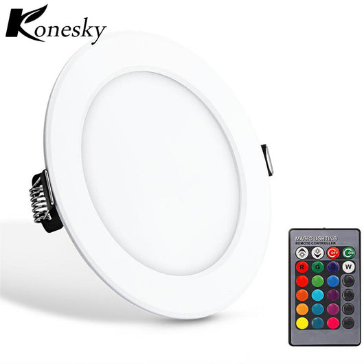 Konesky led panel  downlight  5w Round RGB LED  dimmable recessed ceiling lamp fixture led lighting