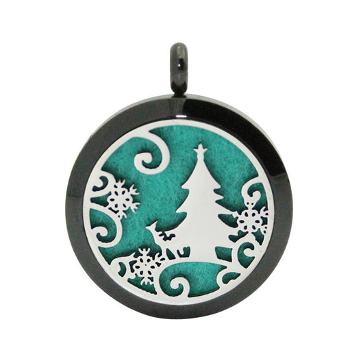 Christmas Locket Necklace Aromatherapy Fragrance Essential Diffuser Pendant