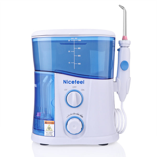 Oral Irrigator Water Flosser UV Sterilizer Dental Care 1000ml with 7 Multifunctional Tips for Family AC 100-240V UK Plug