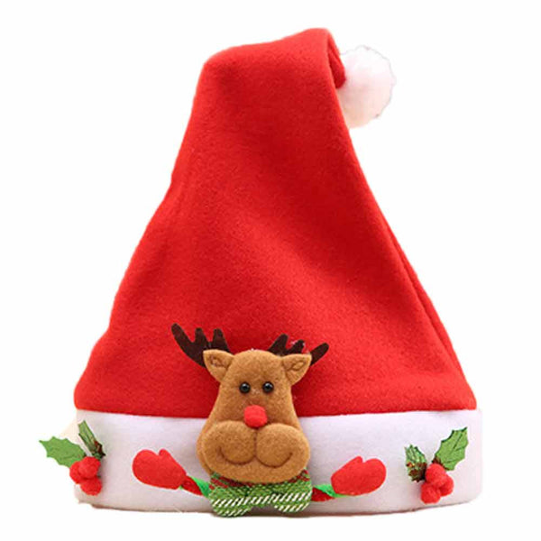 Christmas Elk Red Hat Cozy Soft Warm Children Santa  Headgear