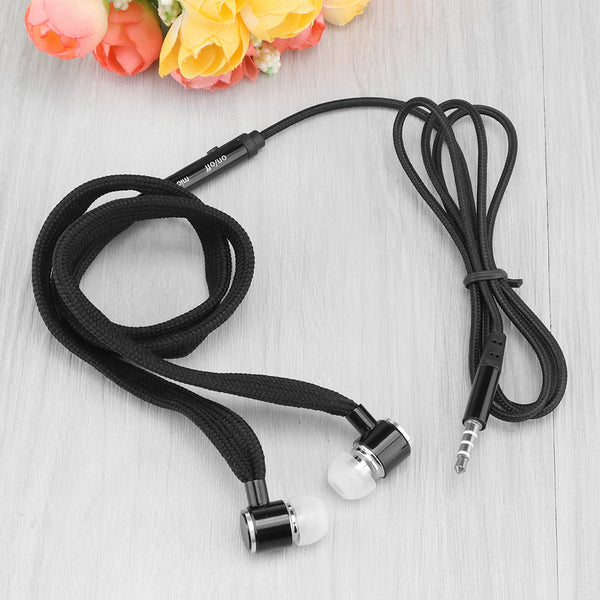 3.5mm Braided Earphone Shoelace In ear Earbuds Smart Noise Reduction with Wire Control Sports Microphone for Samsung iPhone