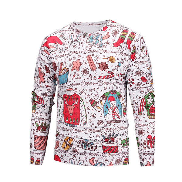Unisex Couples Lovers Christmas Print Loose Blouse Tops Shirt