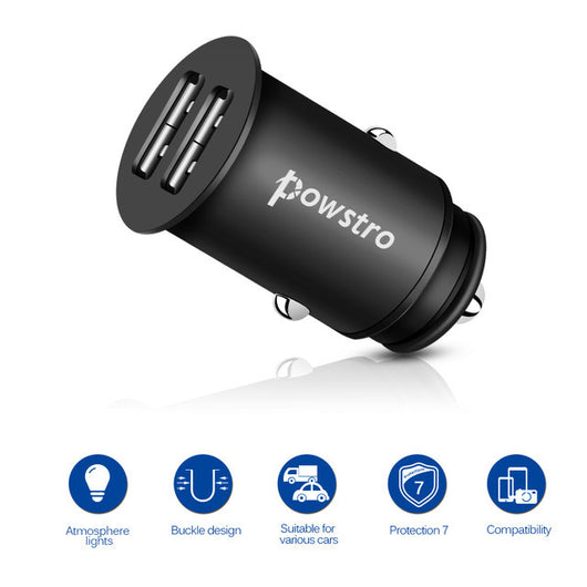 Powstro Zinc Alloy Car Charger 5V 4.8A Dual USB Metal Body Mobile Phone Car Charger Adapter Universal For All Phone MP3 Tablet