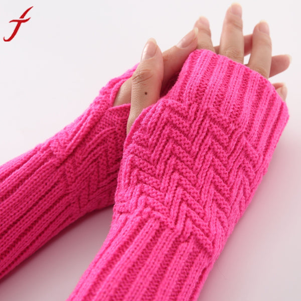 Women Fashion Knitted Arm Sleeve Winter Gloves Soft Warm Mitten Fingerless Gloves Mitten Long Gloves #LYW