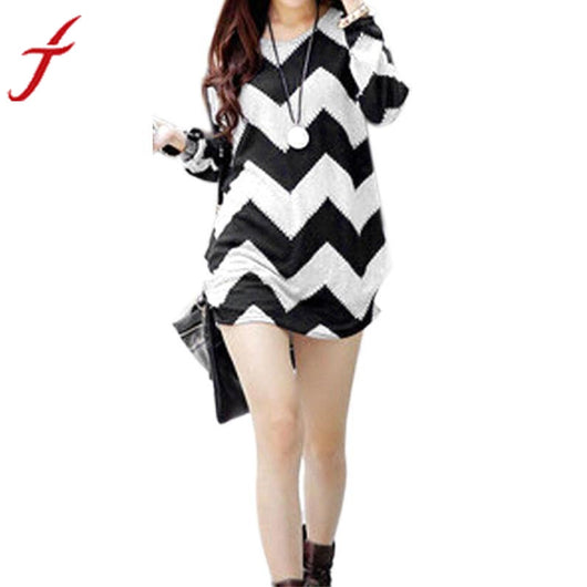 Womens Autumn Warm Long Sleeve Wavy Tops Loose Wave Striped Party Dress New Arrival Women Casual Cute