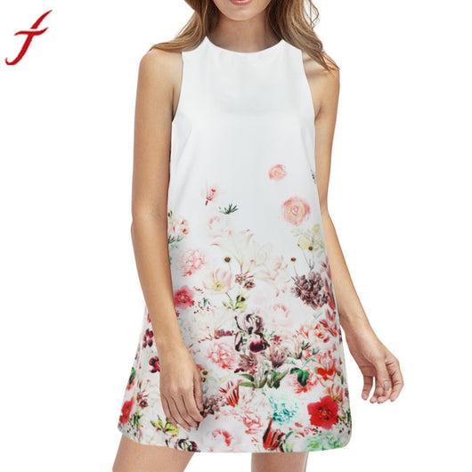 High Qulality Women Floral Printed Sleeveless Boho Women's Summer Spring Dresses O Neck White Short Dress Slim Vestidos De Festa
