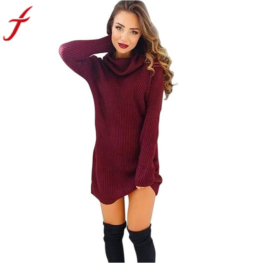 2016 New Women's Winter Fashion Casual Warm Womens Casual Long Sleeve Jumper Turtleneck Sweaters Coat Blouse