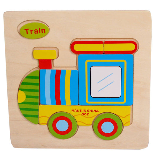 Train Wooden Puzzles for children kids toy Gift Train Puzzle Educational Baby Kids Wooden Toy