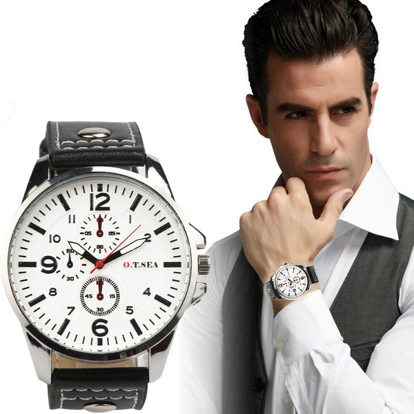 Men's Sports Quartz Watches Mens Watches Luxury Leather Wristwatches