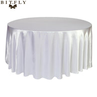 5pcs Satin Round Table Cloth Cover Tablecloth Wedding Party Restaurant Banquet Home Christmas Decoration White Black