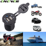 Motorcycle Dual USB Socket Charger Power Adapter Outlet Power 12-24V Mobile Phone Charger with LED for Auto Car Truck ATV Boat