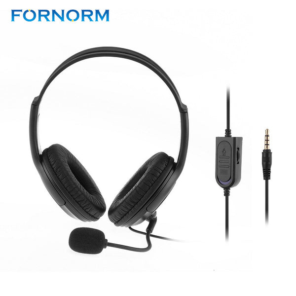 FORNORM 3.5mm Jack Wired Gaming Chat Headset Headphone Earphone With Microphone Stereo Supper Bass For PS4 / XBOX Black Hot Sale