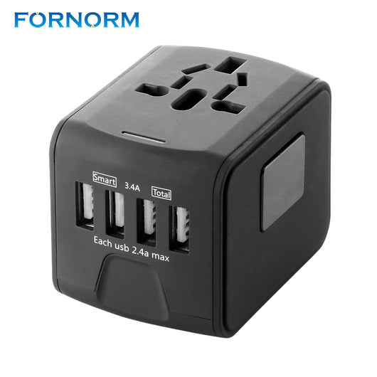 FORNORM International Travel Charger Max 3.4A Dual USB Worldwide Wall Charger Power Adapter Charging for Phone UK/EU/AUS/US Plug
